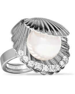 Silver-tone Faux Pearl And Crystal Ring