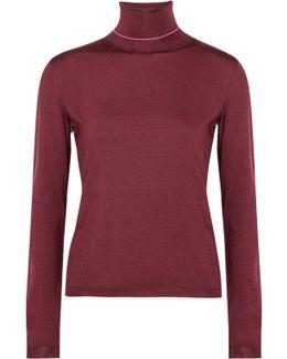 Stretch Silk-blend Turtleneck Sweater