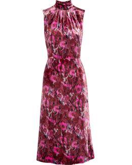 Floral-print Velvet Midi Dress