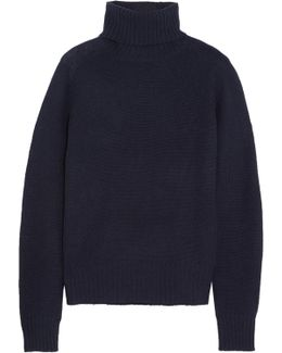 Nubuck-trimmed Cashmere Turtleneck Sweater
