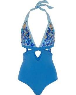 Floral Rhapsody Sequin-embellished Cutout Halterneck Swimsuit