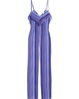 Striped Stretch-silk Jumpsuit