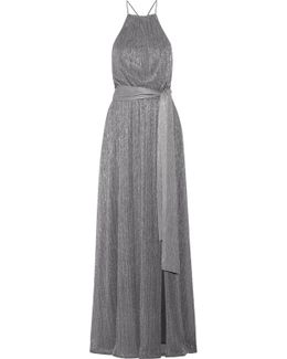 Metallic Ribbed-knit Gown