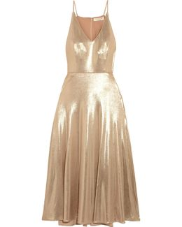 Metallic Stretch-jersey Midi Dress