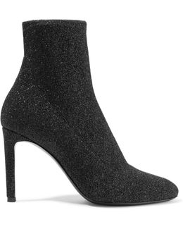 Natalie Glittered Stretch-knit Ankle Boots