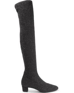 Natalie Glittered Stretch-knit Over-the-knee Boots