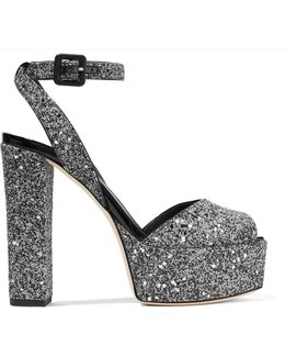 Betty Glittered Leather Platform Sandals