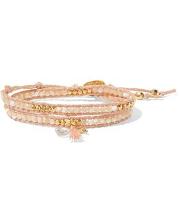 Gold-plated, Mother-of-pearl And Crystal Wrap Bracelet