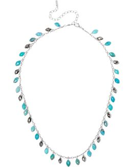 Silver, Turquoise And Pyrite Necklace