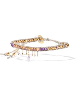 Gold-plated, Amethyst And Beaded Bracelet
