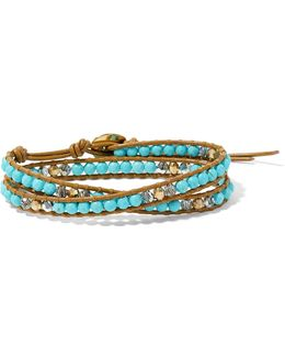 Leather, Gold-tone, Turquoise And Swarovski Crystal Wrap Bracelet