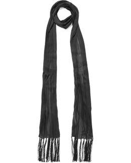 Tasseled Plissé Silk-chiffon Scarf