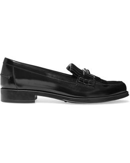 Fringed Glossed-leather Loafers