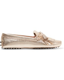 Fringed Metallic Textured-leather Loafers