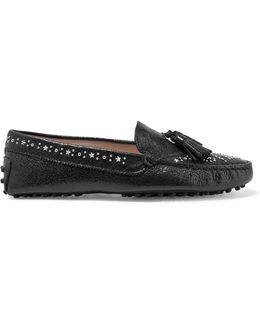 Gommino Studded Textured-leather Loafers