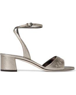 Metallic Intrecciato Leather Sandals