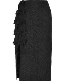 Bow-embellished Cloqué Midi Skirt