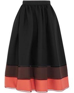 Color-block Wool And Silk-blend Gazar Midi Skirt