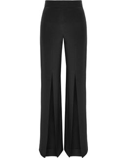 Split-front Silk-crepe Wide-leg Pants