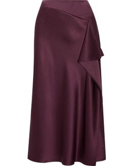Draped Silk-charmeuse Midi Skirt