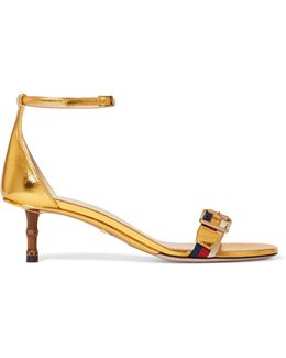 Sylvie Metallic Leather And Grosgrain Sandals