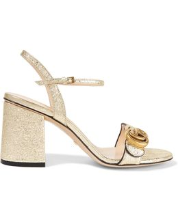 Marmont Embellished Cracked-leather Sandals
