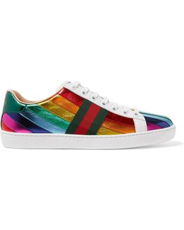 Ace Metallic Striped Leather Sneakers
