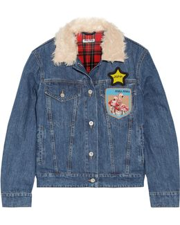 Faux Shearling-trimmed Appliquéd Denim Jacket