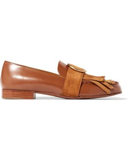 Olly Fringed Suede-trimmed Embellished Leather Loafers
