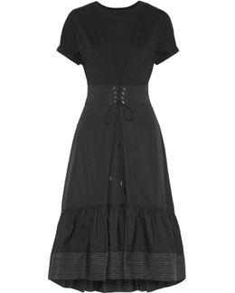 Lace-up Cotton-jersey And Shell Midi Dress