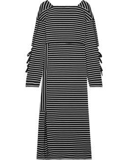 Striped Cotton-jersey Midi Dress