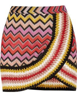 Metallic Crochet-knit Mini Skirt