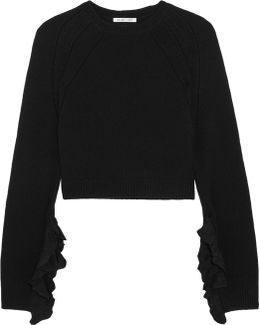 Cropped Ruffle-trimmed Wool And Cashmere-blend Sweater