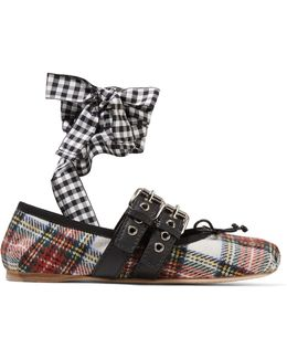 Lace-up Leather-trimmed Tartan Tweed Ballet Flats