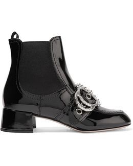 Embellished Patent-leather Ankle Boots