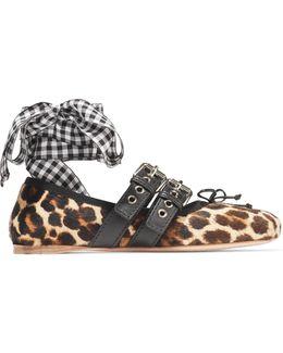 Lace-up Leather-trimmed Leopard-print Calf Hair Ballet Flats