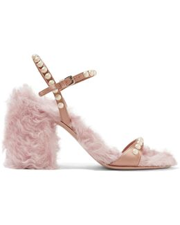 Faux Pearl-embellished Silk And Faux Shearling Sandals