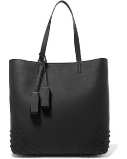 Wave Studded Textured-leather Tote