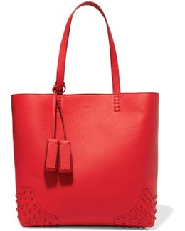 Wave Embellished Textured-leather Tote