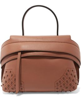 Wave Medium Embellished Textured-leather Tote