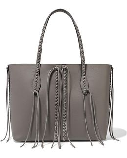 Gypsy Fringed Embellished Textured-leather Tote