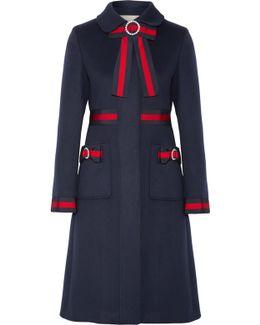 Embellished Grosgrain-trimmed Wool Coat