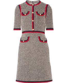 Grosgrain-trimmed Cotton-blend Tweed Mini Dress