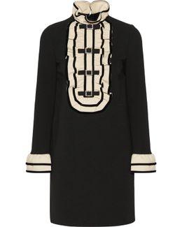 Embellished Ruffled Stretch-cady Mini Dress