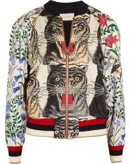 Sequin-embellished Printed Silk-twill Bomber Jacket