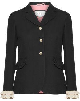 Ruffled-trimmed Silk And Wool-blend Blazer