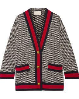 Oversized Grosgrain-trimmed Cotton-blend Tweed Jacket