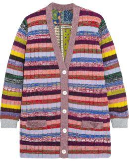 Reversible Metallic Wool And Silk Crepe De Chine Cardigan