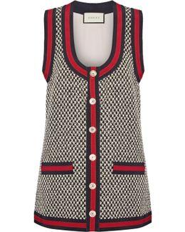 Grosgrain-trimmed Cotton-blend Tweed Vest