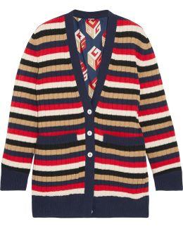 Reversible Striped Wool And Printed Silk-satin Cardigan
